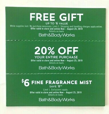 Lot of 3 Bath & Body Works Coupons, Valid ONLINE Expire 8/25/19