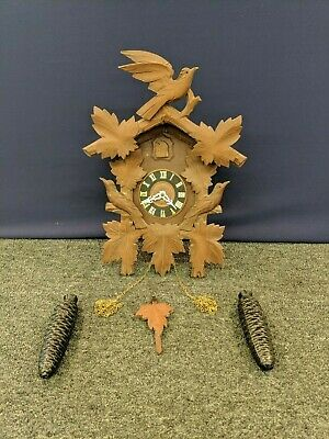 Vintage Black Forest 3 Birds Cuckoo Clock Triberg Germany Hubert Herr Working