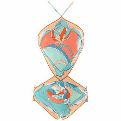 EMILIO PUCCI c.1960's Coral Teal Signature Print Diamond Cut One-Piece Swimsuit