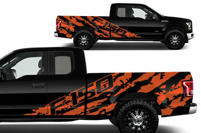 Vinyl Aufkleber Grafik F-150 Shreds Wrap für 15-17 Supercab 6.5 Bett Orange