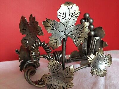 """Unusual Wrought Iron, Silver Patina, Table Centre Piece - Grapes & Leaves 9x6x7"""""""