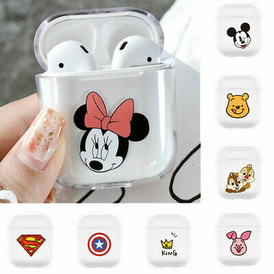 Minnie Mickey Marvel Clear Hard PC Cover for Apple Airpods Charging Case Disney