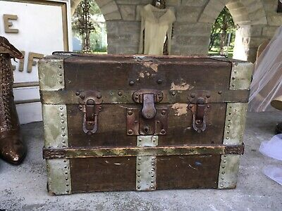 Antique Primitive Wooden Doll Trunk Stunning Patina