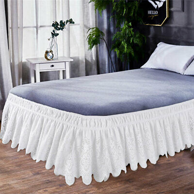 Elastic Lace Embroidered Bed Ruffle Skirt Valance Easy Fit Wrap Around Soft