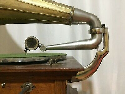 Hmv His Master's Voice Gramophone Grammophon Back Bracket With Tone Arm Assembly