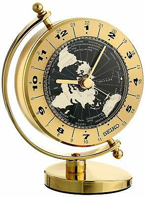Seiko QHG106GLH Desk and Table World Time Clock Solid Brass Case
