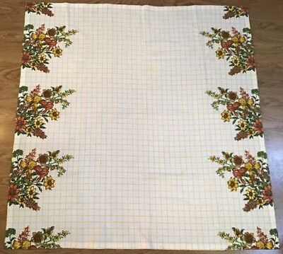 Vintage Terry Cloth Tablecloth Flowers Floral Picnic White & Yellow Grid 44x43