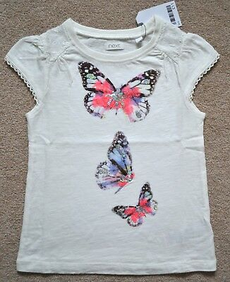 BNWT Next Girls White Butterfly Sequin Top / T-shirt 3-4 Years