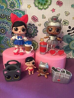 Lol Surprise Dolls, Fanime And Tinz Lot of 4 Big & Lil Sis, 3 Color Changers