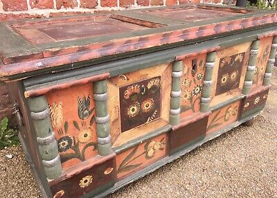 Antique European Dowry Chest Hand Painted Wedding Chest Folk Art Wedding Trunk