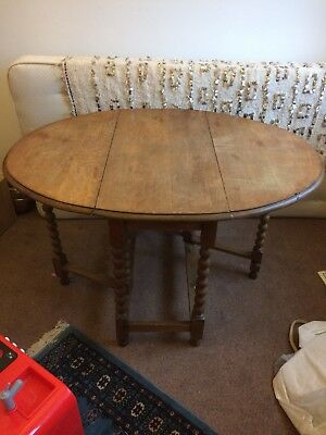 Antique Drop Leaf Table With Bobbin Turned Legs