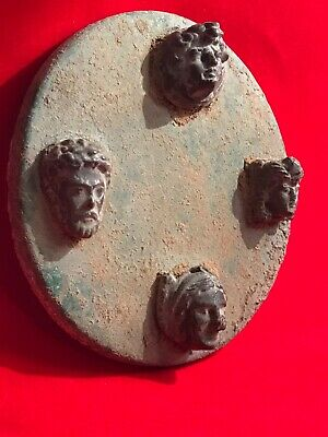Rare  ancient  Roman bronze Pictorial plaque,  1st Century 4 Difference Emperors