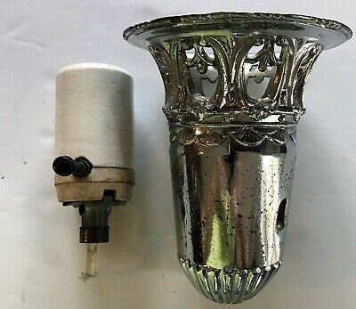 Vintage Art Deco Torchiere Lamp Chrome Ornate Holder Shade Parts With Socket