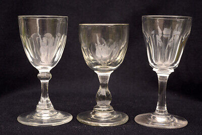 Three late Georgian or early Victorian wine, cordial, sherry or port glasses