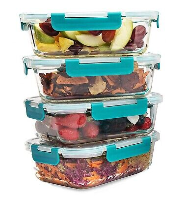 Food Storage Container Set of 4 x 840ML BPA Free Strong Lids Gift Box