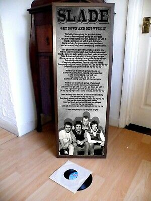 Slade Get Down And Get With It Poster Lyric Sheet,Pop Glam,Prog Rock,Sweet,Bowie