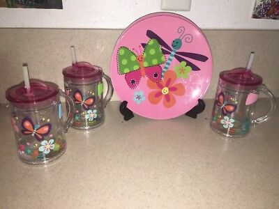 Set Of 3 Children's Sippy Cups & 3 Matching Plates