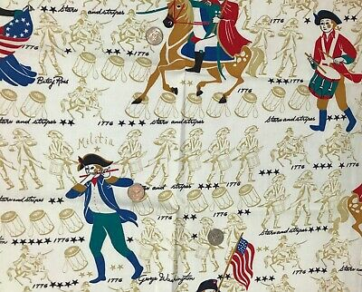 Vtg Barkcloth Fabric Colonial Patriotic Design 2 Yards 34W  Estate Find  unused