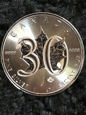 2018 30th Anniversary Canadian Silver Maple Leaf 1 oz .9999 Silver BU Coin