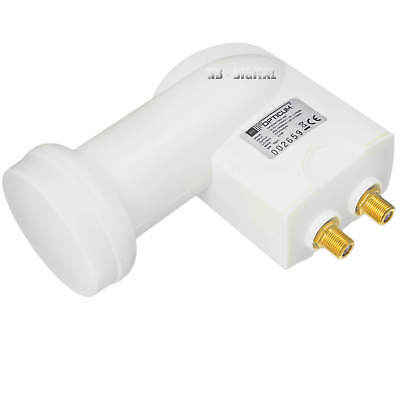 Robust Ax Doble 2 Usuarios Twin LNB 0,1dB DVB-S2 Full HDTV 3D 4K 5K Lnc Satélite