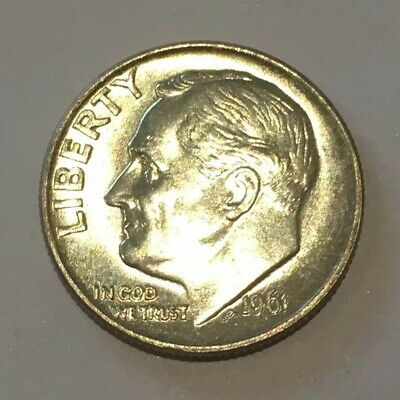 1961 USA Roosevelt Dime 10 Cent 10c Cents 90% Silver Coin US United States 61 EF