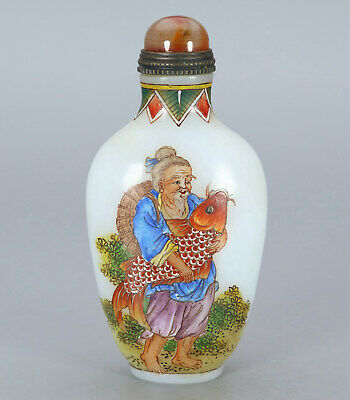 Chinese Exquisite Handmade the ancients fish Glass snuff bottle