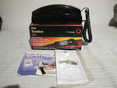 Vintage At&t Trimline 230 Memory Telephone Phone Color Black Mint In Box