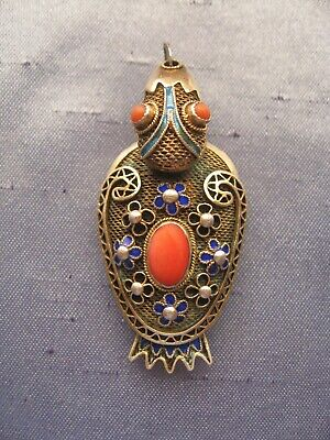 Antique Chinese Gold Filled Silver Enamel& Natural Coral Duck Locket Pendant