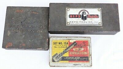 Vintage Collection Of Screw/Tap Extractor Metal Boxes (Reps, Cleveland, Walton)