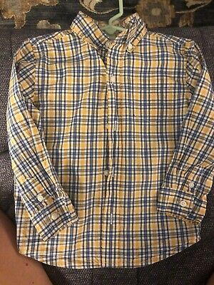 Boys Janie And Jack Long Sleeved Button Down Shirt Yellow/black/ Blue Plaid