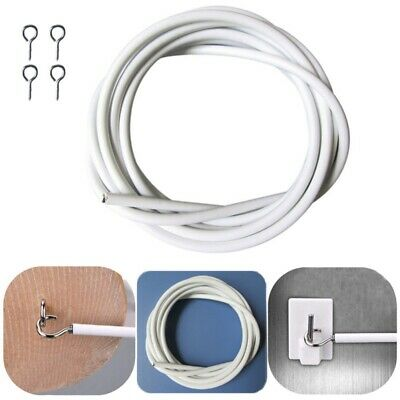 1m to 5m Net Curtain Wire White Window Cord Cable Viole - Inc Hook & Eyes