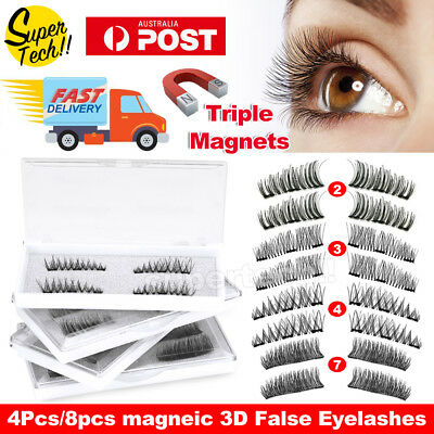 Magnetic Eyelashes With 3 Magnets Handmade 3D Natural False Lashes & Tweezer
