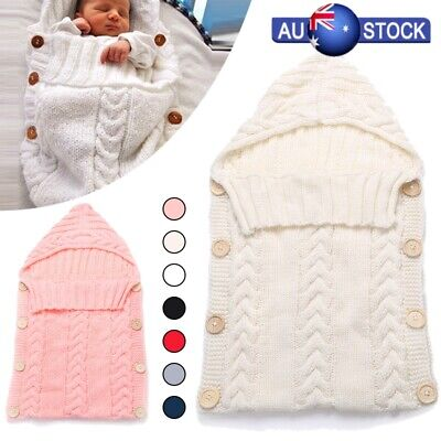 Newborn Infant Baby Boy Girl Blanket Knit Crochet Warm Swaddle Wrap Sleeping Bag