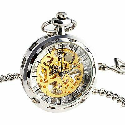 Retro Mens Womens Antique Skeleton Steampunk Windup Mechanical Pocket Watch Gift