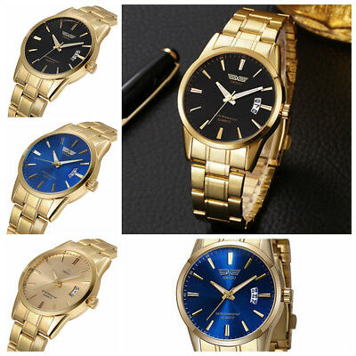 Luxury Mens Stainless Steel Band Date Analog Quartz Army Gold Sports Wrist Watch