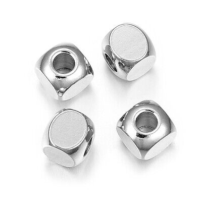 100pcs 304 Stainless Steel Cube Beads Smooth Tiny Loose Spacers 2mm 3mm 4mm 6mm