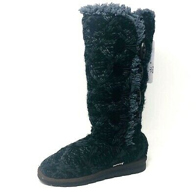 Muk Luks Womens Sz 7 Black Gray Felicity Cable Knit Pull Up Mid Calf Boot