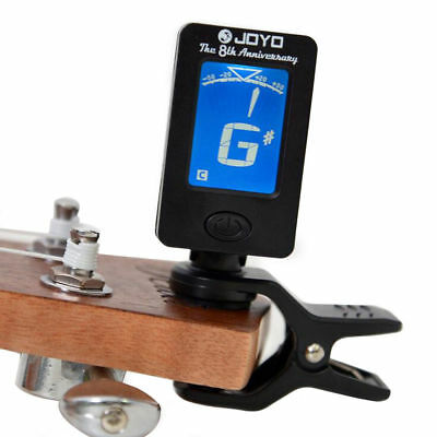 LCD Clip on Electronic Digital Guitar Tuner Electric Guitar Bass CR2032 Battery#