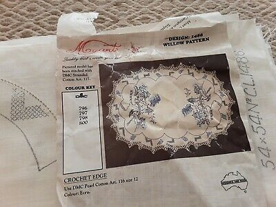 Myart willow pattern design1486 pure linen supper cloth ready to be embroidered