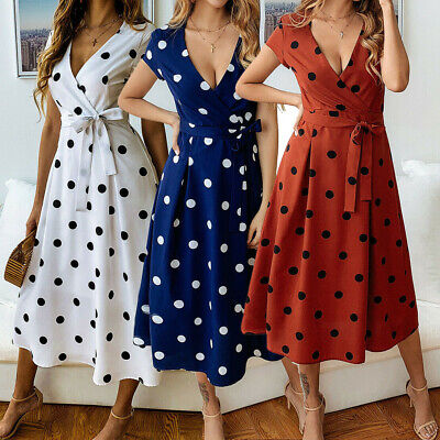 Womens Long Midi Dress Polka Dot Short Sleeve Ladies Summer Wrap Casual Dresses