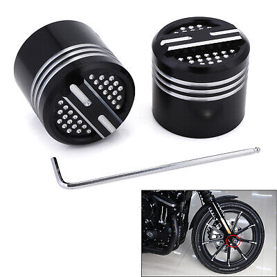 Front CNC Deep Edge Cut Axle Nut Cover For Harley Softail 07-later Dyna 08-later