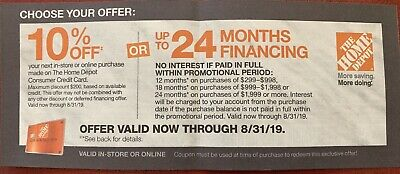 Home Depot 10% off coupon Online or In-Store or up to 24 months financing