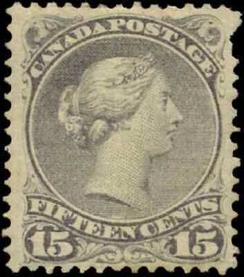 Canada #30 mint F-VF OG HR 1868 Queen Victoria 15c grey Large Queen CV$80.00