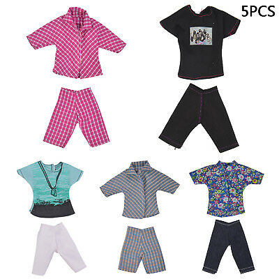 5 Dolls Sets Casual Suits Clothes Tops Pants For Barbie Boy Friend Ken Doll