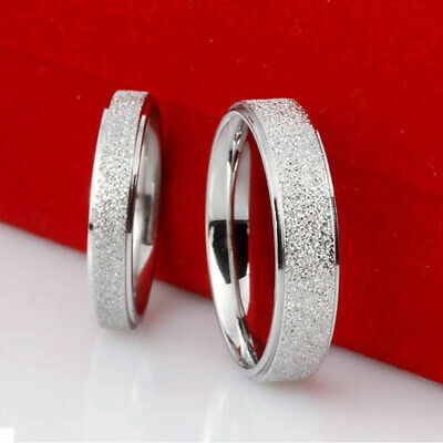 6mm Women Band Ring Frosted Men Stainless Steel Silver Size12