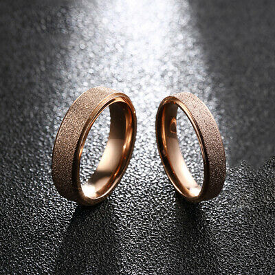 6mm Women Band Ring Frosted Men Stainless Steel Gold Size