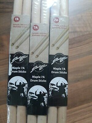 Pack of 12 Pair Johnny Brook Wooden Drum Sticks Maple 7A Wood Tip