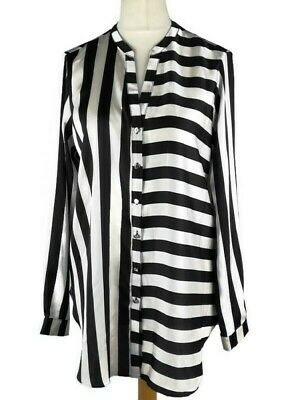 Wallis Black Off White Striped Scarf Print Smart Work Career Blouse Size 14 Top