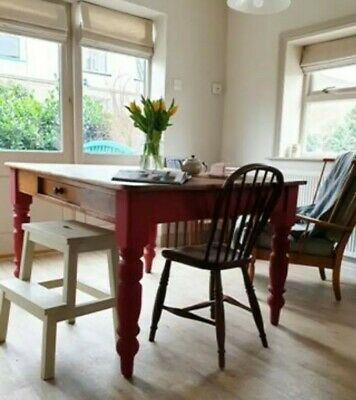 Rustic Painted Farmhouse Pine Kitchen Dining Table SEATS 6 DELIVERY AVAILABLE