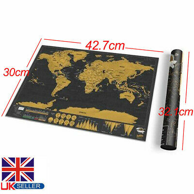 Gift Scratch Off World Map Deluxe Edition Travel Log Journal Poster Wall Decor .